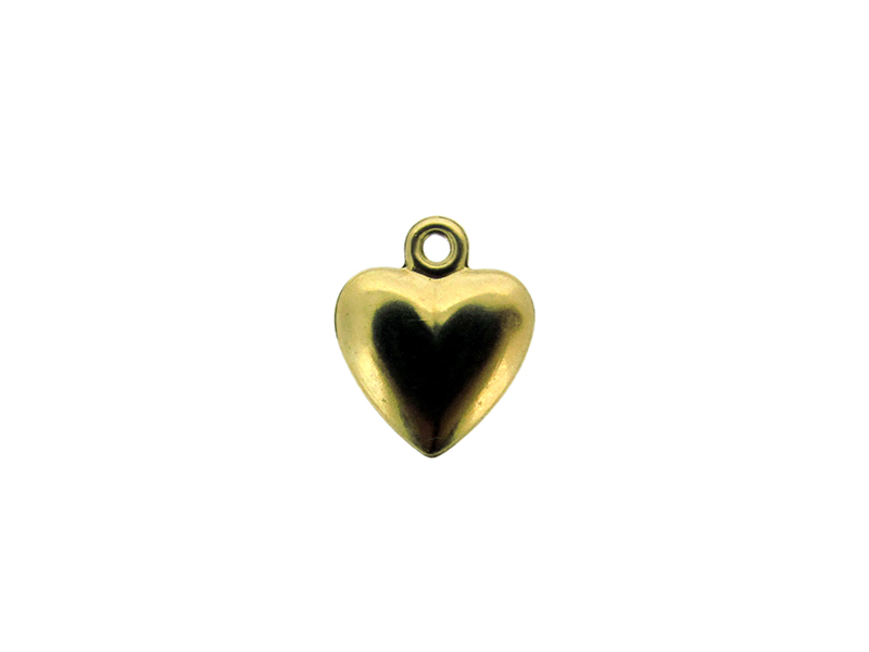 Gold Filled stamped Heart Charm 10mm, one side