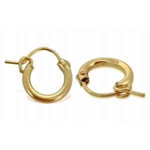 PAIR OF YELLOW GOLD FILLED CREOLE LEVER HOOP EARRING 12mm  2X12GF