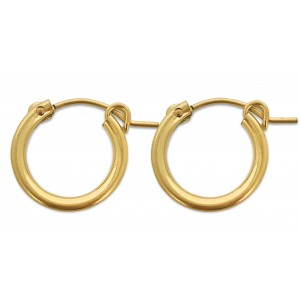 PAIR OF YELLOW GOLD FILLED CREOLE LEVER HOOP EARRING 15mm  2X15GF