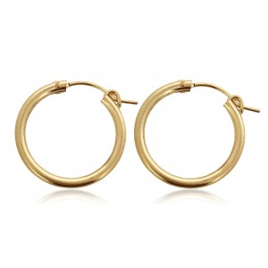 PAIR OF YELLOW GOLD FILLED CREOLE LEVER HOOP EARRING 22mm  2X22GF