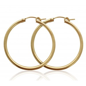 PAIR OF YELLOW GOLD FILLED CREOLE LEVER HOOP EARRING 28mm  2X28GF