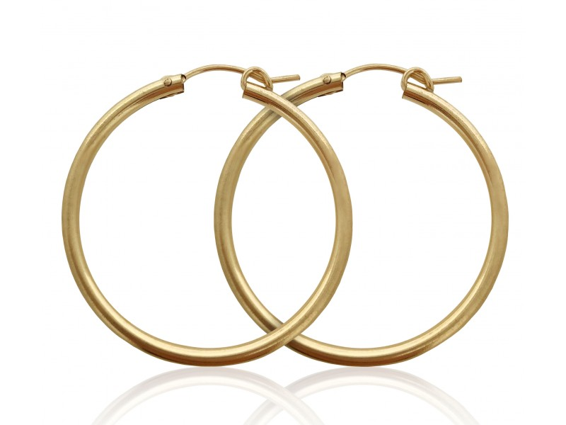 PAIR OF YELLOW GOLD FILLED CREOLE LEVER HOOP EARRING 34mm  2X34GF