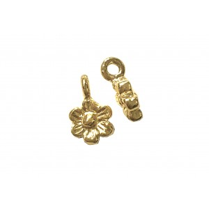 Deep Gold Heavy Plated Brass Flower Charm 5.6mm Gold Plated Charms, Pendants