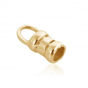 Brass Deep Heavy Gold Plated Crimping End Cap, 2.6mm Gold Filled End Caps, Pendant Bails