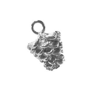 Sterling Silver 925 Pine Cone Pendant 7.3mm x 9.5mm Silver Flowers & Plants
