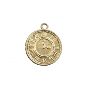 Deep Gold Heavy Plated Brass Watch Charm 17mm, 1mm thick