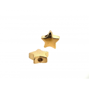 Brass Deep Heavy Gold Plated Star Bead, 5.7mm, 2 hole