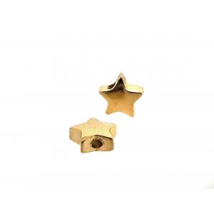 Brass Deep Heavy Gold Plated Star Bead, 5.7mm, 2 hole