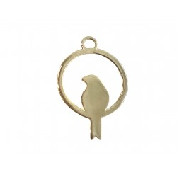 Deep Heavy Gold Plated Brass Bird in a Ring Charm 13mm x 25mm