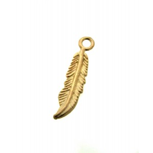 DEEP GOLD PLATE FEATHER CHARM 15348GF