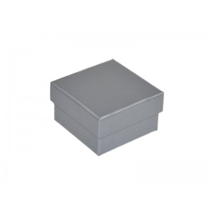 2-PIECE PLAIN SILVER CARDBOARD RING (OR STUDS) BOX, 55x55x33mm