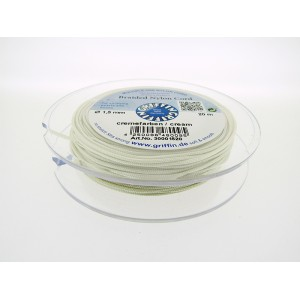 Braided Nylon Cord, Cream, 0.5mm, 25m SPOOL