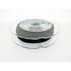 Braided Nylon Cord, Black, 0.5mm, 25m SPOOL
