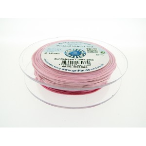 Braided Nylon Cord, Dark Pink, 0.5mm, 25m SPOOL
