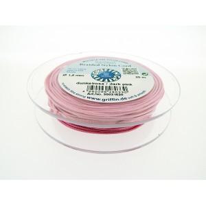 Braided Nylon Cord, Dark Pink, 0.5mm, 25m SPOOL