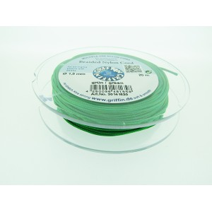 Braided Nylon Cord, Green, 0.5mm, 25m SPOOL