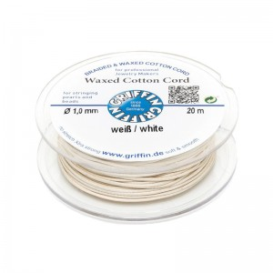 GRIFFIN WAXED COTTON CORD REEL, WHITE, 1.0mm x 20 mtrs