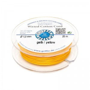 GRIFFIN WAXED COTTON CORD REEL, YELLOW, 1.0mm x 20 mtrs