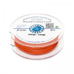 GRIFFIN WAXED COTTON CORD REEL, ORANGE, 1.0mm x 20 mtrs