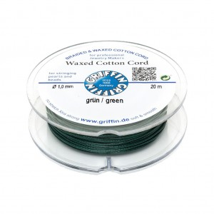 GRIFFIN WAXED COTTON CORD REEL, GREEN, 1.0mm x 20 mtrs