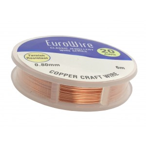 0.8MM COPPER NON TARNISH CRAFT WIRE ON REEL - 6 METERS