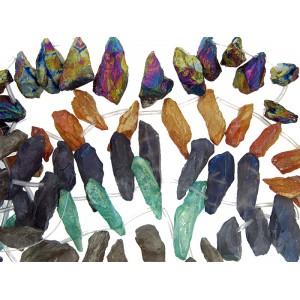 Crystal Large Shard Beads AB Coated