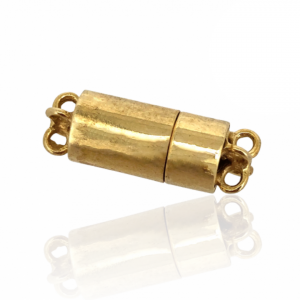 Sterling Silver 925 Gold Plated Barrel Magnetic Clasp D 6mm, 12.6mm long, 4 strand