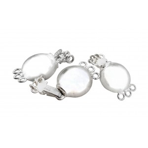 SILVER 925 10mm 3 strands Round-shaped Safety Clasp