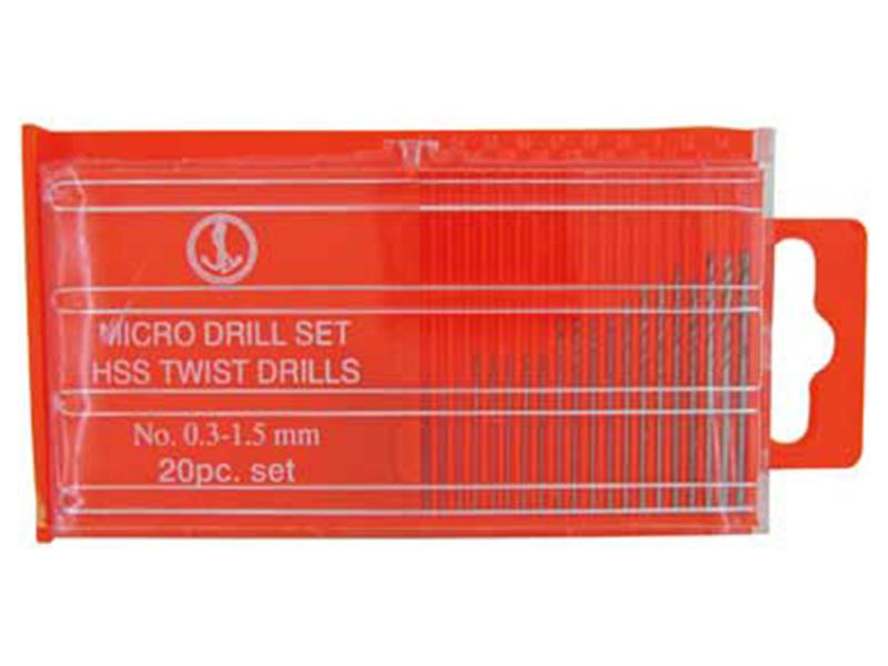 Set of 20 Shank-less HSS Twist Drills, 0.3mm - 1.6mm