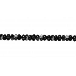 Agate Black & White line Rondelle Beads,