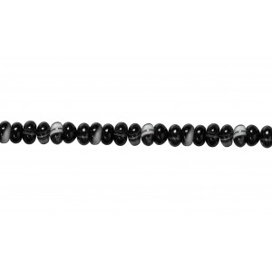 Agate Black & White line Rondelle Beads,