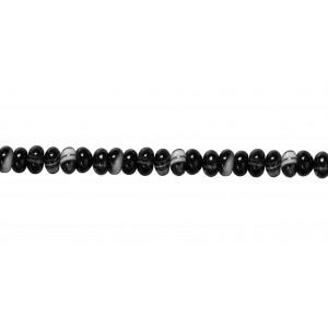 Agate Black & White line Rondelle Beads