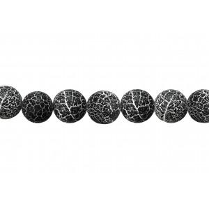 Agate Round rough Black & white Beads