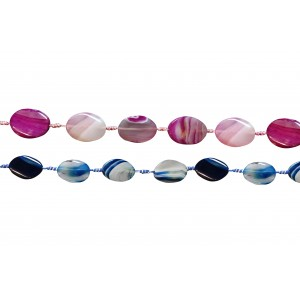 Agate Flat Oval Beads, Dyed