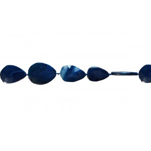 Agate Flat Oval Faceted Beads, Blue