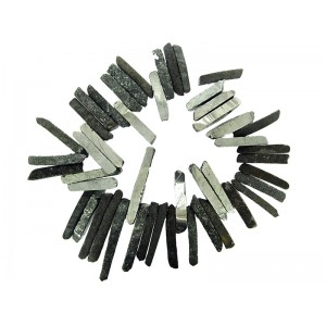 Agate Long, Narrow Baroque Cab Beads (Domed, Flat-backed), Coated