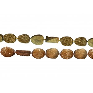 "Agate Druzy Chunky Oval ""Cab"" Beads, Coated"