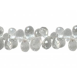 Aquamarine Badamche / Drops /Briolette Choker Faceted Beads