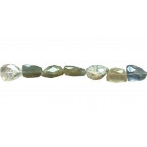 Aquamarine Tumble Faceted Beads