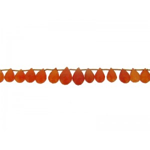 "Carnelian Badamche / Drops Faceted Beads 10"" strand"