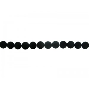 Onyx Black Coin Beads, Matte Finish, 14mm
