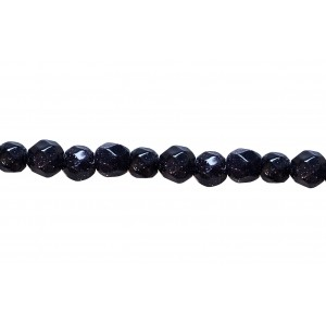 Goldstone Faceted Beads, Blue, 4 mm