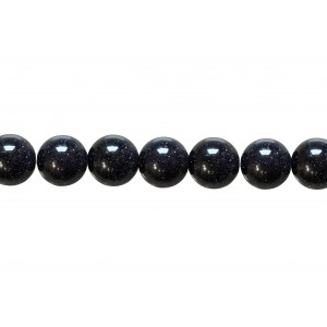Sandstone Blue Round Beads, 10 mm Goldstone Beads