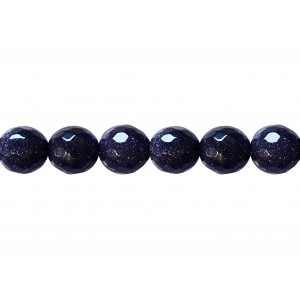 Sandstone Blue Faceted Beads, 12 mm Goldstone Beads