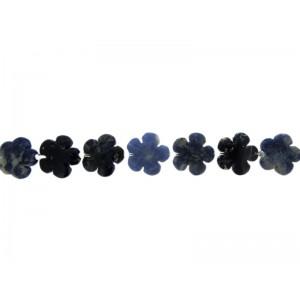 Sodalite Flower Beads 20mm, 16'' strand