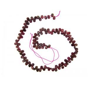 Tourmaline Pink side-drilled drop / Briolette (badamche) Beads 5mm x 7mm
