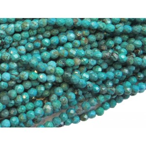 Turquoise (Pressed) Faceted Round Beads - 4mm