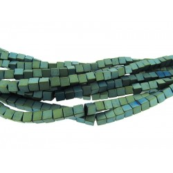 Hematite Turquoise Colour Square 4mm Beads