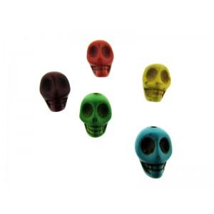 Howlite Pressed Skull Bead 12mm x 10mm