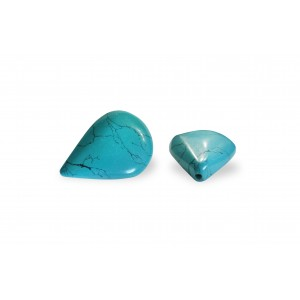 PRESSED TURQUOISE PEAR SHAPED SINGLES